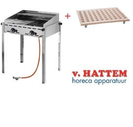 Hendi barbecue green fire rood koperen poffertjesplaat, set